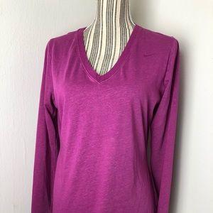 Nike Dry Fit Slim Fit V Neck Pullover Top L Pink